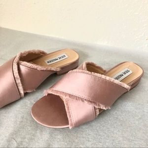 Steve Madden pink distressed edges sliders